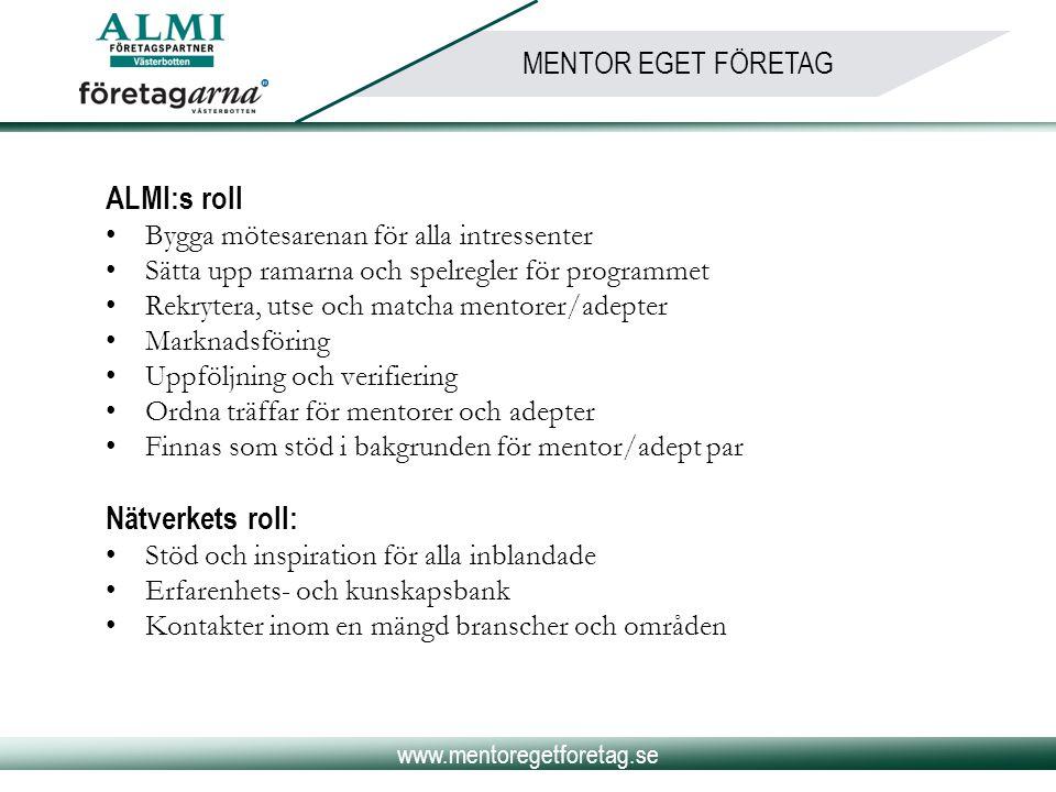 www.mentoregetforetag.se MENTOR EGET FÖRETAG ALMI:s roll •Bygga mötesarenan för alla intressenter •Sätta upp ramarna och spelregler för programmet •Re