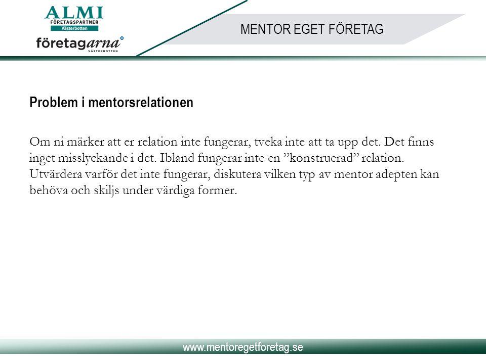 www.mentoregetforetag.se MENTOR EGET FÖRETAG Problem i mentorsrelationen Om ni märker att er relation inte fungerar, tveka inte att ta upp det. Det fi