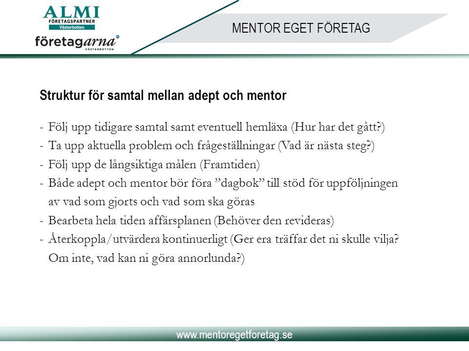 www.mentoregetforetag.se MENTOR EGET FÖRETAG Struktur för samtal mellan adept och mentor -Följ upp tidigare samtal samt eventuell hemläxa (Hur har det