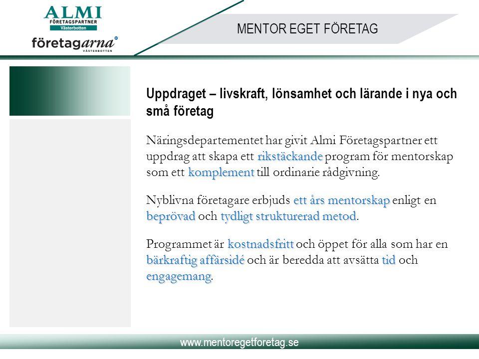 www.mentoregetforetag.se MENTOR EGET FÖRETAG Projektets mål… …är att stärka den enskilde företagaren i företagarrollen så att företagets förutsättningar till långsiktig överlevnad och tillväxt ökar.