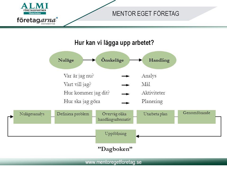 www.mentoregetforetag.se MENTOR EGET FÖRETAG Hur kan vi lägga upp arbetet? NulägeÖnskelägeHandling Var är jag nu?Analys Vart vill jag?Mål Hur kommer j