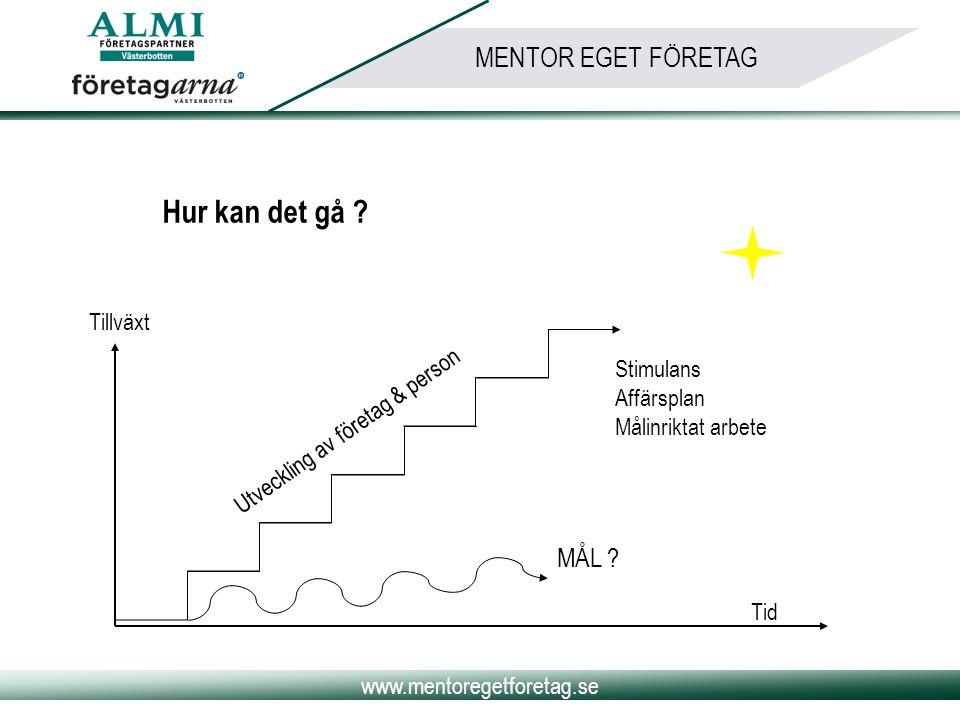 www.mentoregetforetag.se MENTOR EGET FÖRETAG Hur kan det gå ? Utveckling av företag & person Tid MÅL ? Stimulans Affärsplan Målinriktat arbete Tillväx