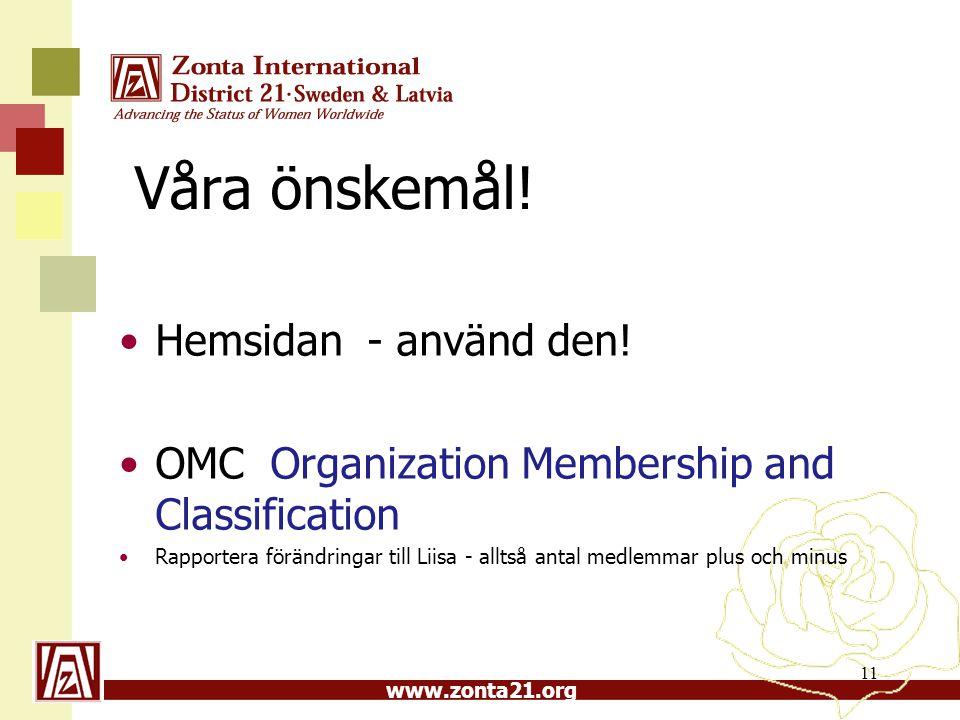 www.zonta21.org Våra önskemål! •Hemsidan - använd den! •OMC Organization Membership and Classification •Rapportera förändringar till Liisa - alltså an
