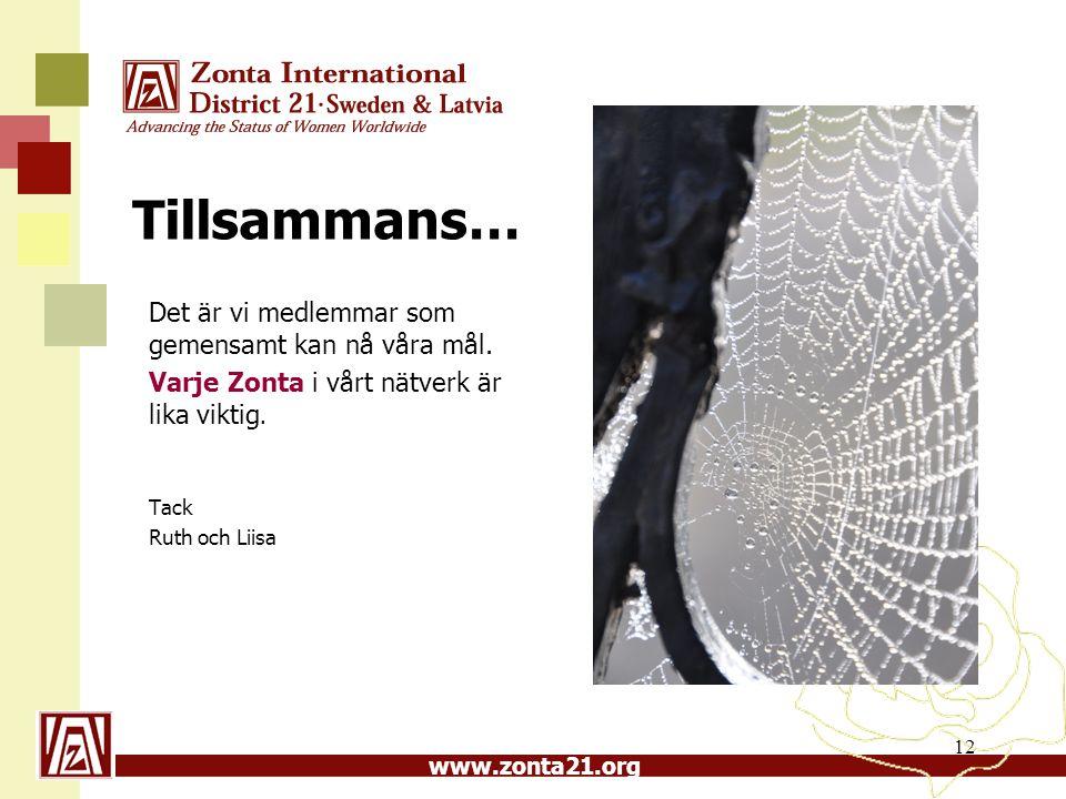 www.zonta21.org Tillsammans… Det är vi medlemmar som gemensamt kan nå våra mål. Varje Zonta i vårt nätverk är lika viktig. Tack Ruth och Liisa 12