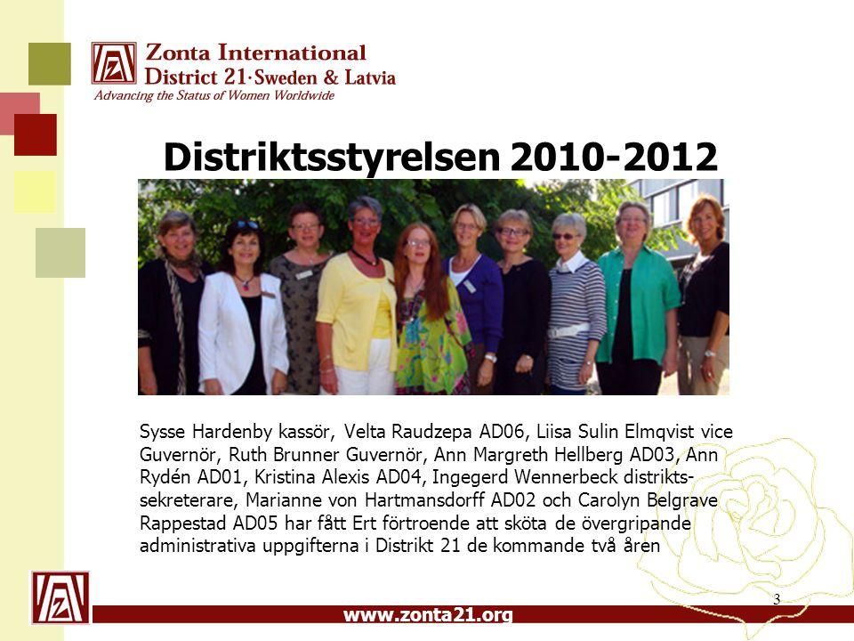 www.zonta21.org Distriktsstyrelsen 2010-2012 Sysse Hardenby kassör, Velta Raudzepa AD06, Liisa Sulin Elmqvist vice Guvernör, Ruth Brunner Guvernör, An