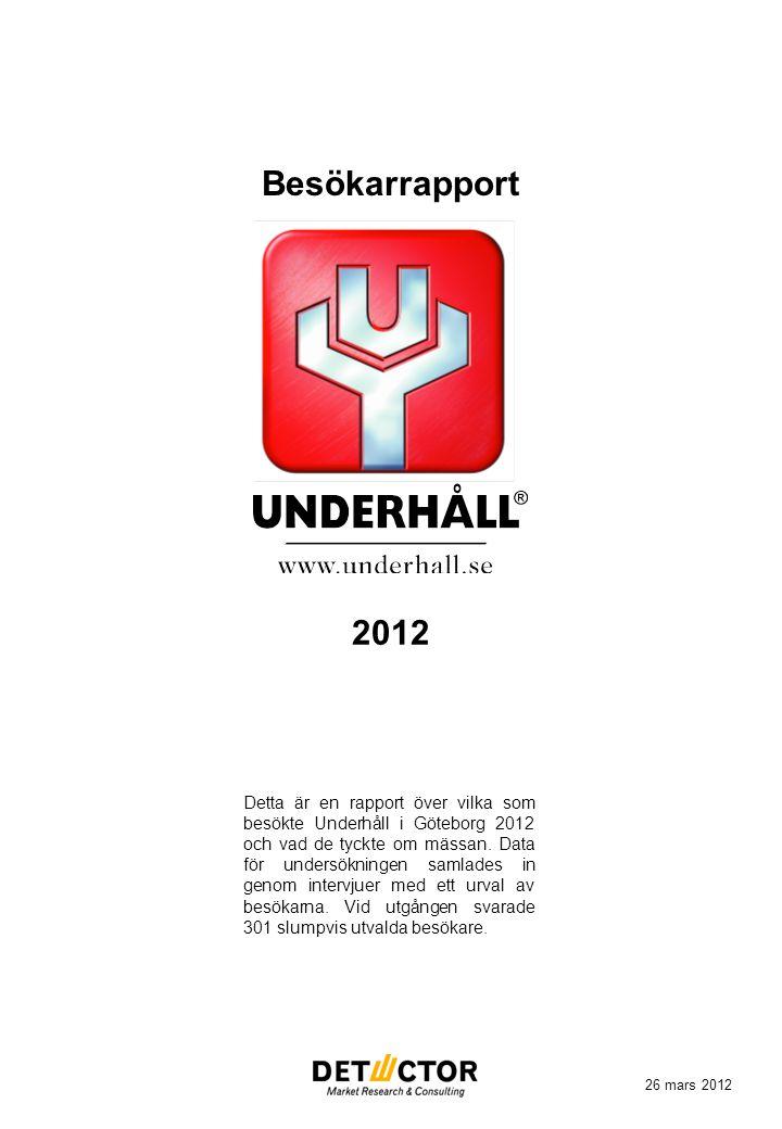 Besökarrapport Detta är en rapport över vilka som besökte Underhåll i Göteborg 2012 och vad de tyckte om mässan. Data för undersökningen samlades in g
