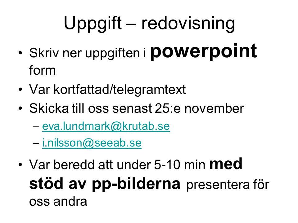 Uppgift – redovisning •Skriv ner uppgiften i powerpoint form •Var kortfattad/telegramtext •Skicka till oss senast 25:e november –eva.lundmark@krutab.seeva.lundmark@krutab.se –i.nilsson@seeab.sei.nilsson@seeab.se •Var beredd att under 5-10 min med stöd av pp-bilderna presentera för oss andra