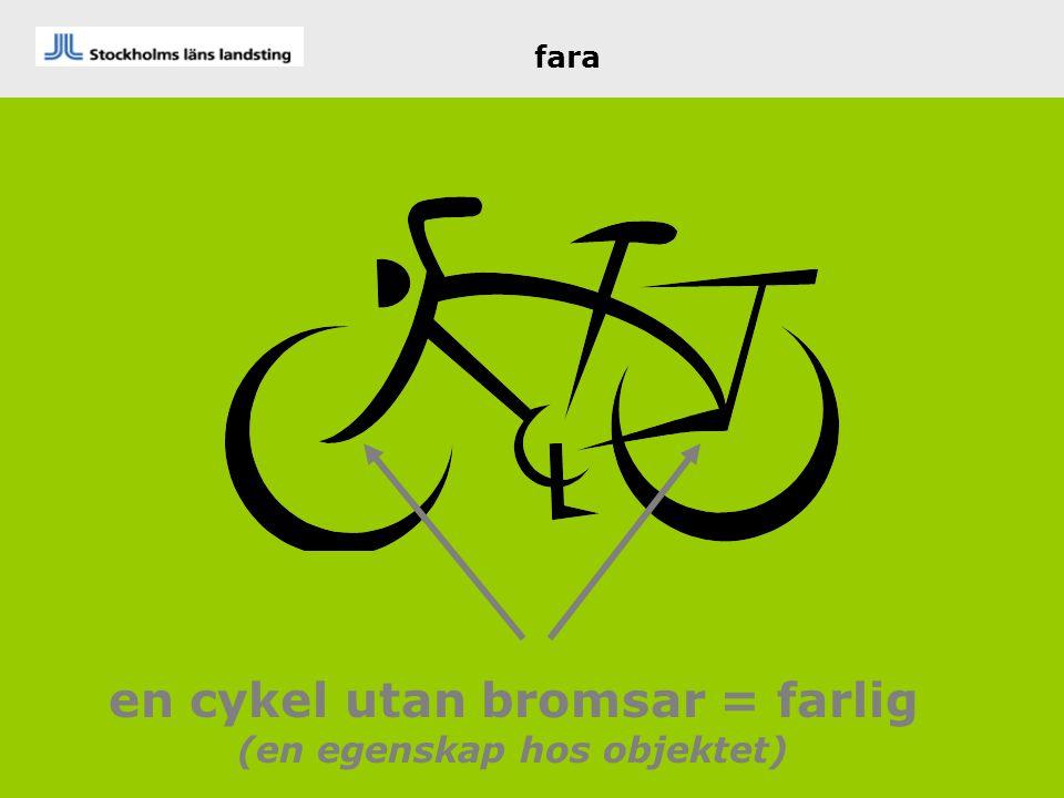 en cykel utan bromsar = farlig (en egenskap hos objektet) fara