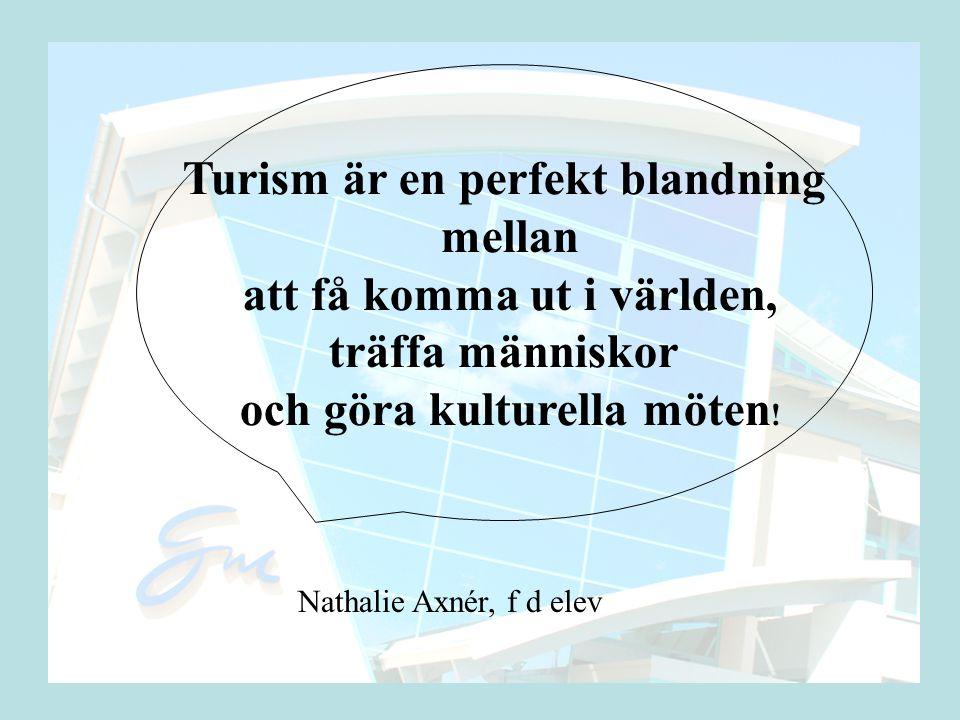 Turism är en perfekt blandning mellan att få komma ut i världen, träffa människor och göra kulturella möten .
