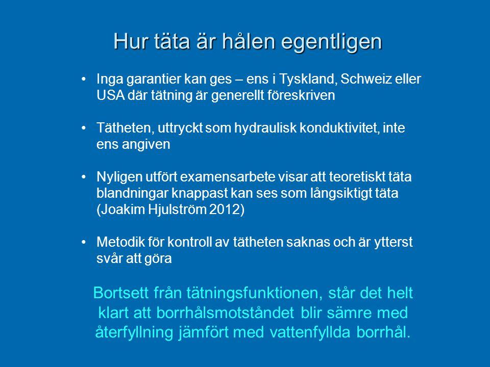 Hur täta är hålen egentligen Hur täta är hålen egentligen •Inga garantier kan ges – ens i Tyskland, Schweiz eller USA där tätning är generellt föreskr