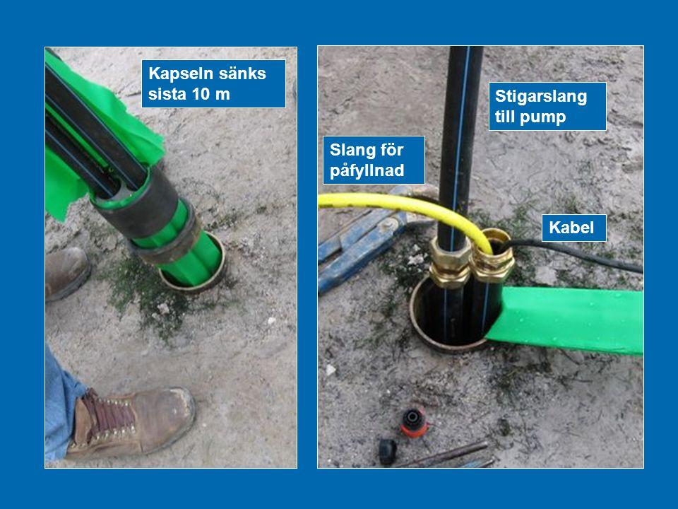 Kapseln sänks sista 10 m Stigarslang till pump Slang för påfyllnad Kabel
