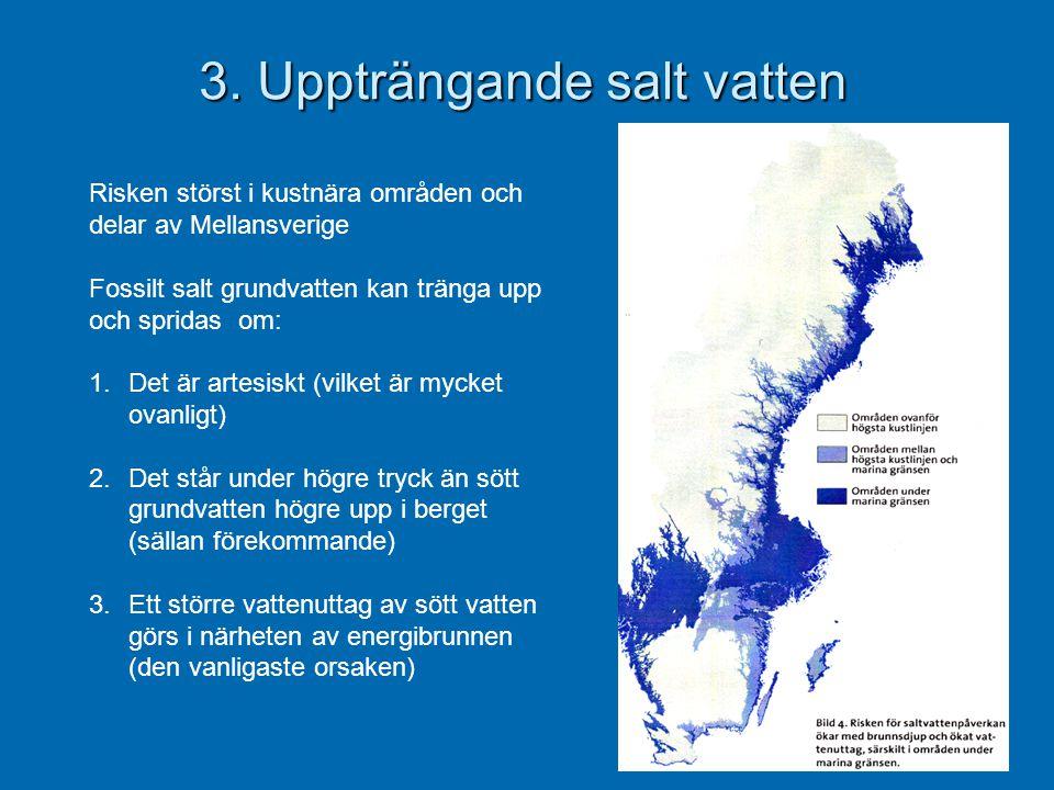 3. Uppträngande salt vatten Risken störst i kustnära områden och delar av Mellansverige Fossilt salt grundvatten kan tränga upp och spridas om: 1.Det