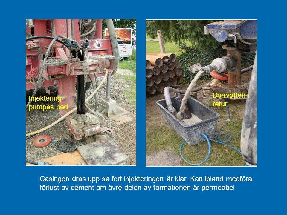 Casingen dras upp så fort injekteringen är klar. Kan ibland medföra förlust av cement om övre delen av formationen är permeabel Borrvatten i retur Inj