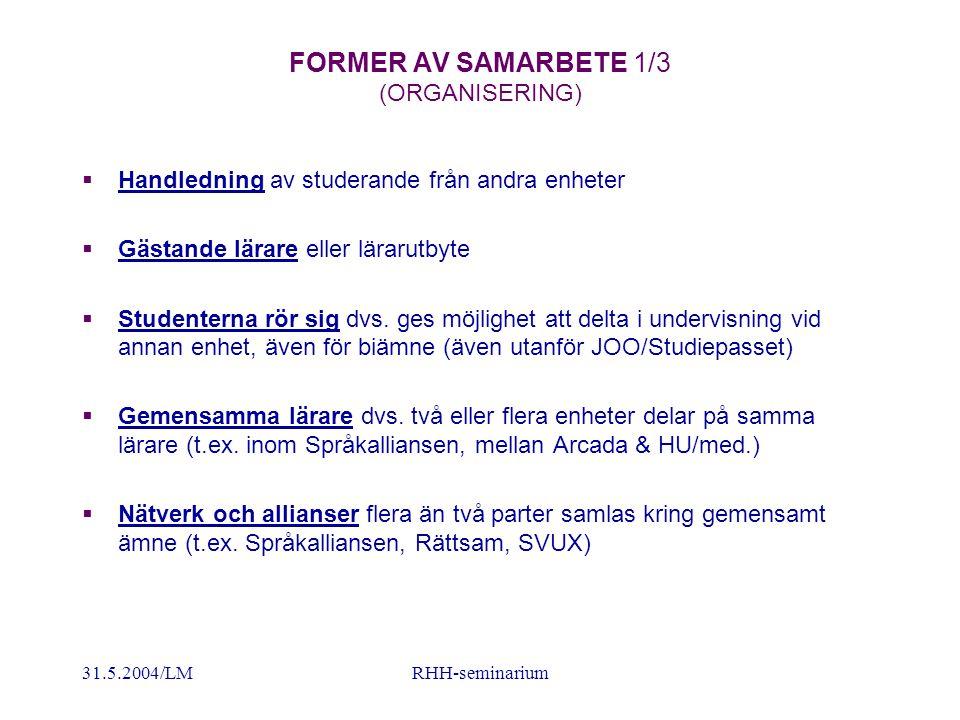 31.5.2004/LMRHH-seminarium FORMER AV SAMARBETE 1/3 (ORGANISERING)  Handledning av studerande från andra enheter  Gästande lärare eller lärarutbyte  Studenterna rör sig dvs.