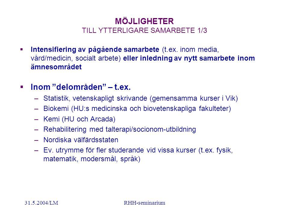 31.5.2004/LMRHH-seminarium MÖJLIGHETER TILL YTTERLIGARE SAMARBETE 2/3  Mellan ämnesområden – t.ex.