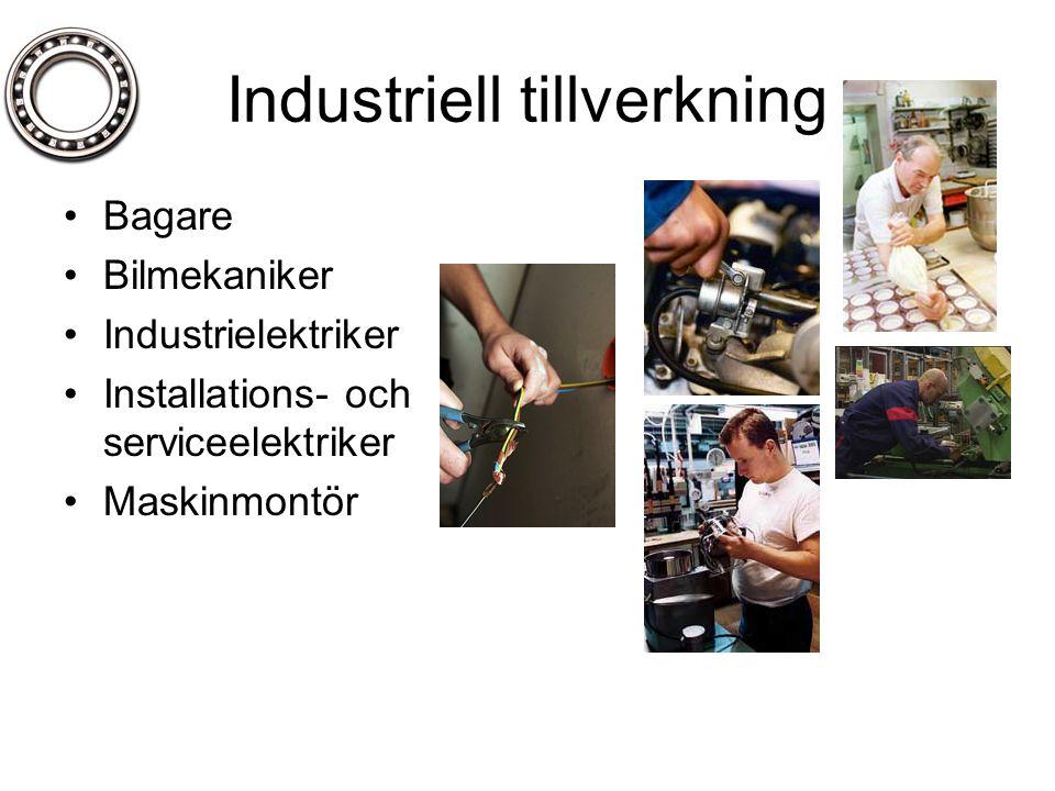 Industriell tillverkning •Bagare •Bilmekaniker •Industrielektriker •Installations- och serviceelektriker •Maskinmontör