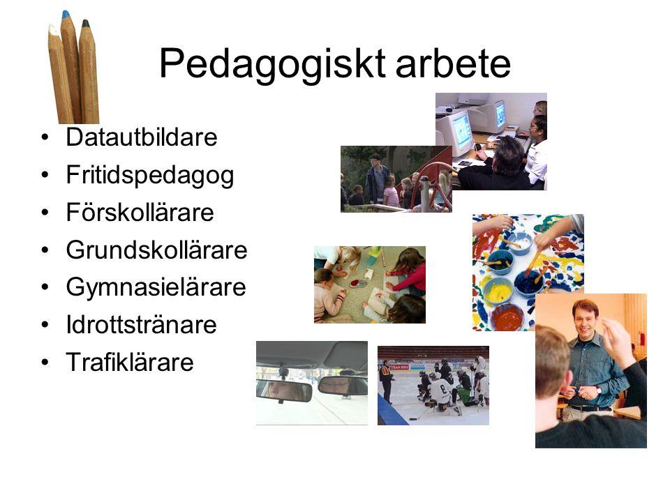 Pedagogiskt arbete •Datautbildare •Fritidspedagog •Förskollärare •Grundskollärare •Gymnasielärare •Idrottstränare •Trafiklärare