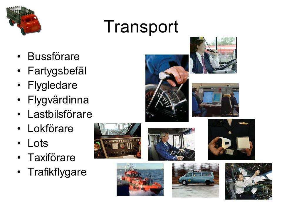 Transport •Bussförare •Fartygsbefäl •Flygledare •Flygvärdinna •Lastbilsförare •Lokförare •Lots •Taxiförare •Trafikflygare