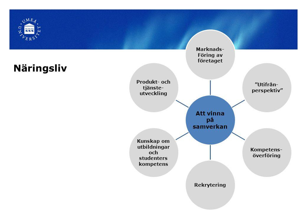 Att vinna på samverkan Marknads- Föring av företaget Utifrån- perspektiv Kompetens- överföring Rekrytering Kunskap om utbildningar och studenters kompetens Produkt- och tjänste- utveckling Näringsliv