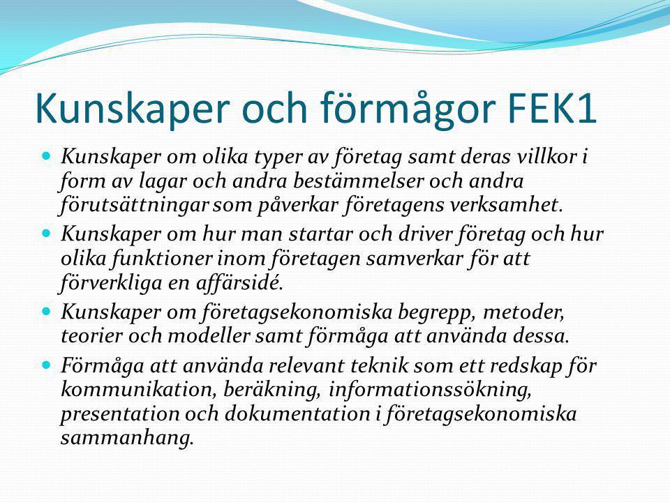 Kunskaper och förmågor FEK1  Kunskaper om olika typer av företag samt deras villkor i form av lagar och andra bestämmelser och andra förutsättningar som påverkar företagens verksamhet.