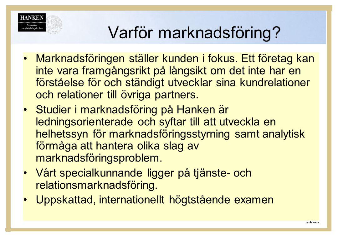Studier •Marknadsföring har sedan länge varit ett av de största ämnena i Hanken, med en rätt jämn könsfördelning bland studerande.