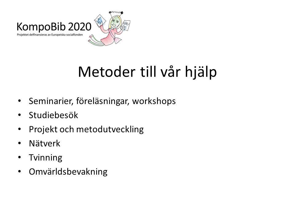 Metoder till vår hjälp • Seminarier, föreläsningar, workshops • Studiebesök • Projekt och metodutveckling • Nätverk • Tvinning • Omvärldsbevakning