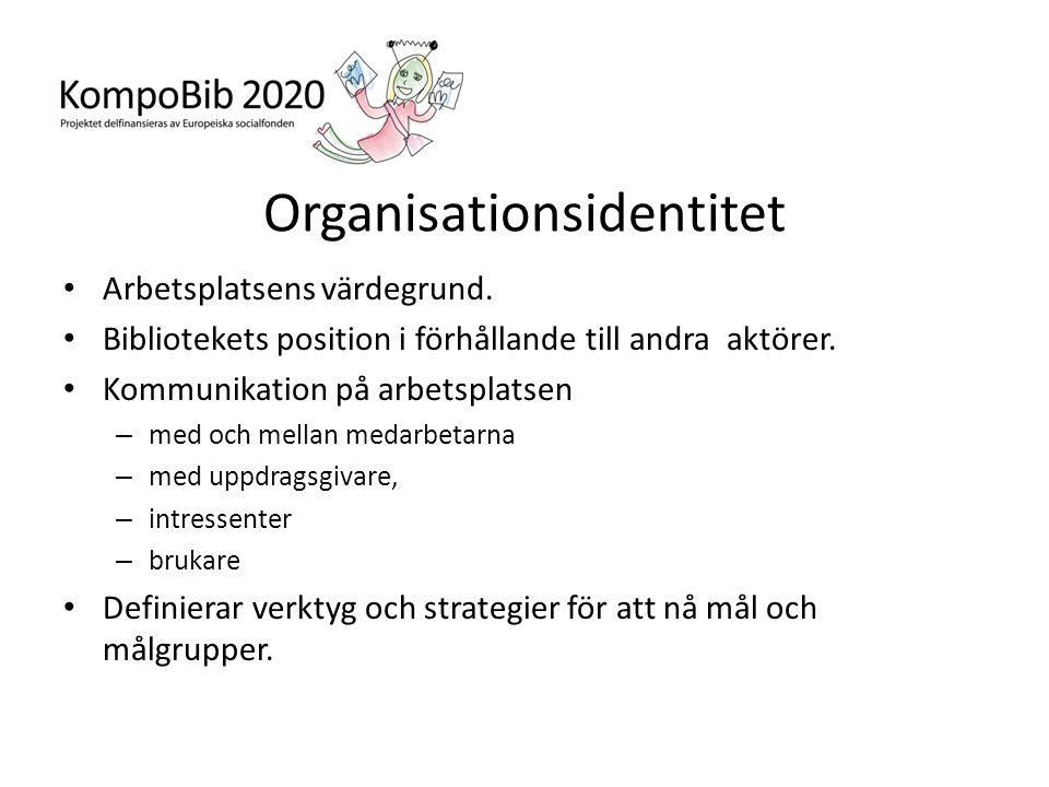 Organisationsidentitet • Arbetsplatsens värdegrund. • Bibliotekets position i förhållande till andra aktörer. • Kommunikation på arbetsplatsen – med o