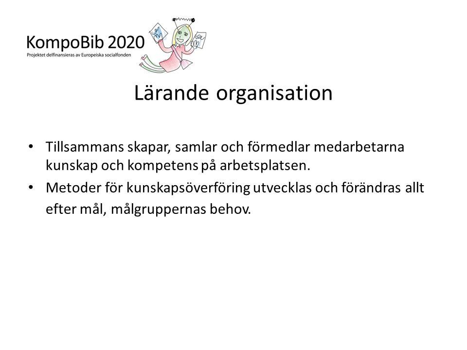 Lärande organisation • Tillsammans skapar, samlar och förmedlar medarbetarna kunskap och kompetens på arbetsplatsen. • Metoder för kunskapsöverföring