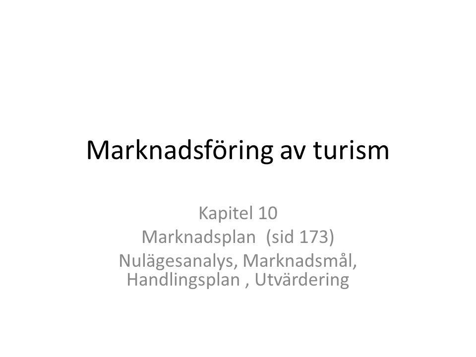 Marknadsföring av turism Kapitel 10 Marknadsplan (sid 173) Nulägesanalys, Marknadsmål, Handlingsplan, Utvärdering