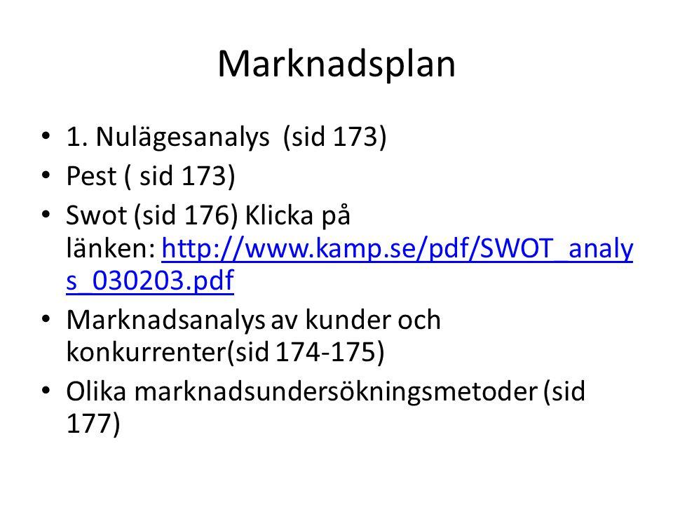Marknadsplan • 1. Nulägesanalys (sid 173) • Pest ( sid 173) • Swot (sid 176) Klicka på länken: http://www.kamp.se/pdf/SWOT_analy s_030203.pdfhttp://ww