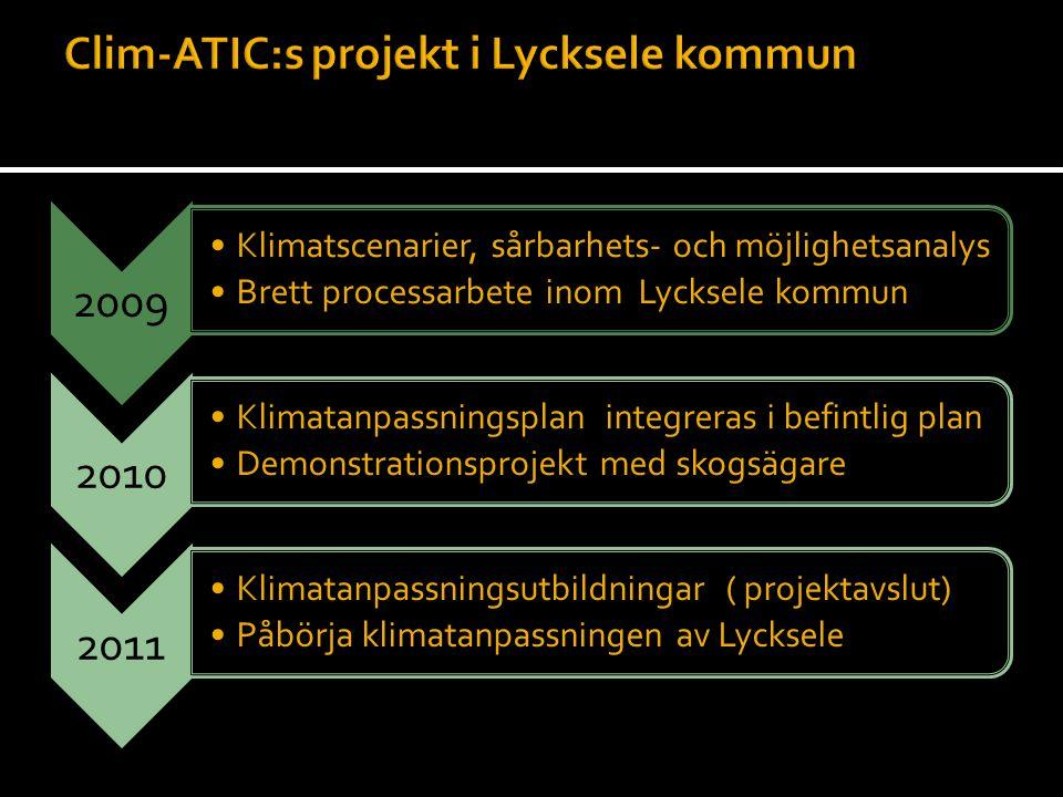 2009 •Klimatscenarier, sårbarhets- och möjlighetsanalys •Brett processarbete inom Lycksele kommun 2010 •Klimatanpassningsplan integreras i befintlig p