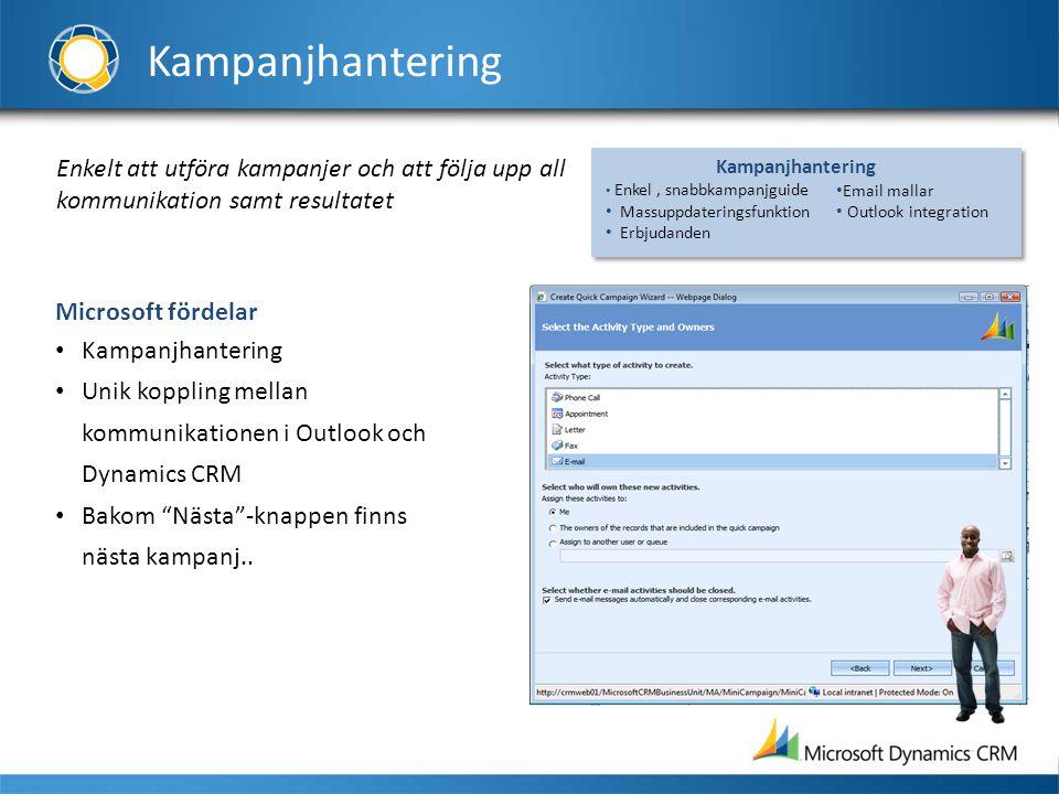 Kampanjhantering Enkelt att utföra kampanjer och att följa upp all kommunikation samt resultatet Microsoft fördelar • Kampanjhantering • Unik koppling