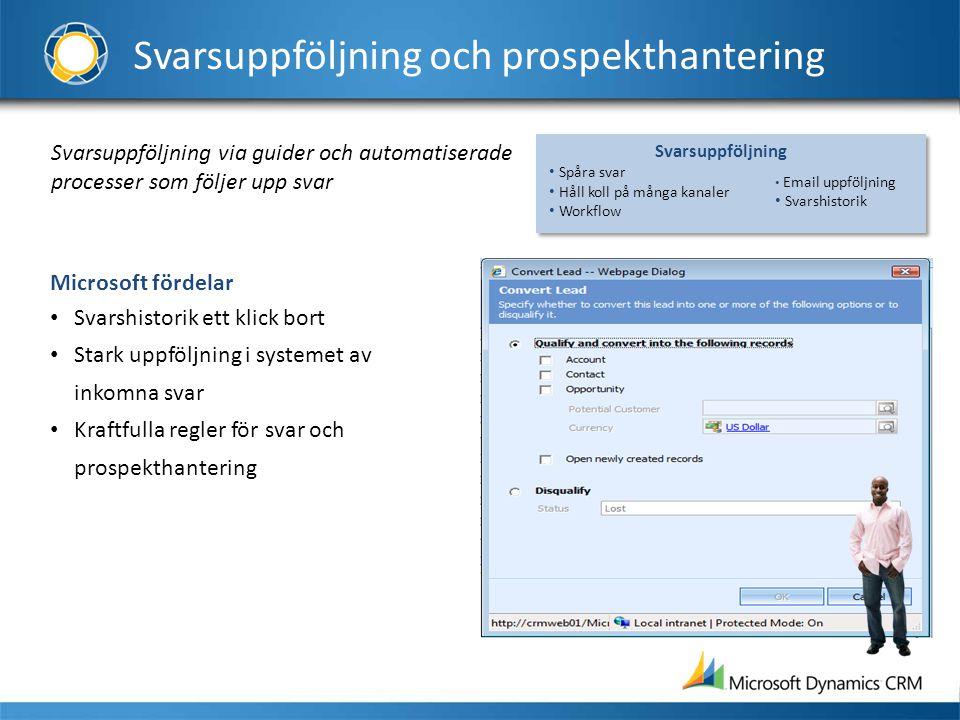 Svarsuppföljning och prospekthantering Svarsuppföljning via guider och automatiserade processer som följer upp svar Microsoft fördelar • Svarshistorik
