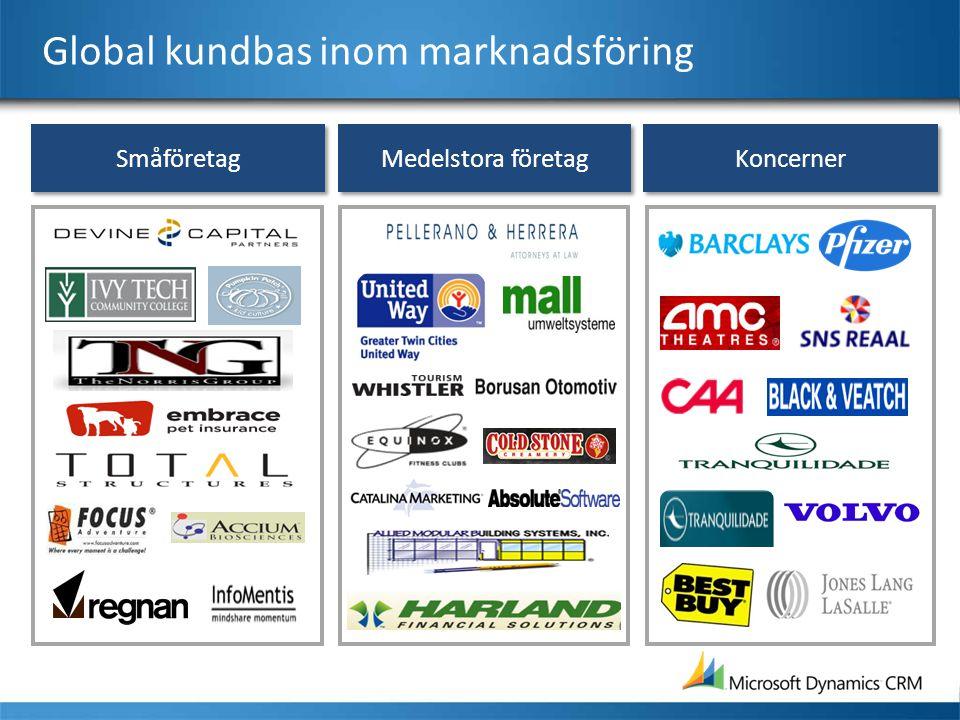 Medelstora företag Småföretag Koncerner Global kundbas inom marknadsföring