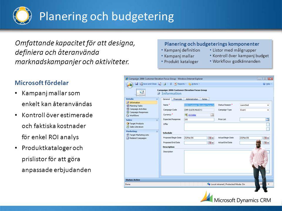 Omfattande kapacitet för att designa, definiera och återanvända marknadskampanjer och aktiviteter. Microsoft fördelar • Kampanj mallar som enkelt kan