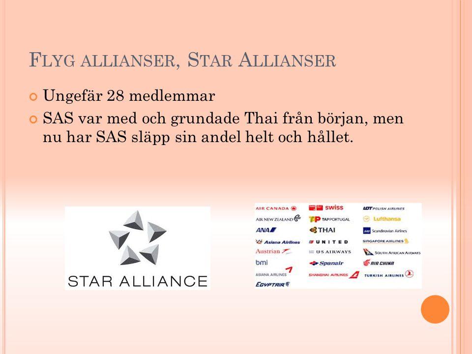 F LYG ALLIANSER, S TAR A LLIANSER Ungefär 28 medlemmar SAS var med och grundade Thai från början, men nu har SAS släpp sin andel helt och hållet.
