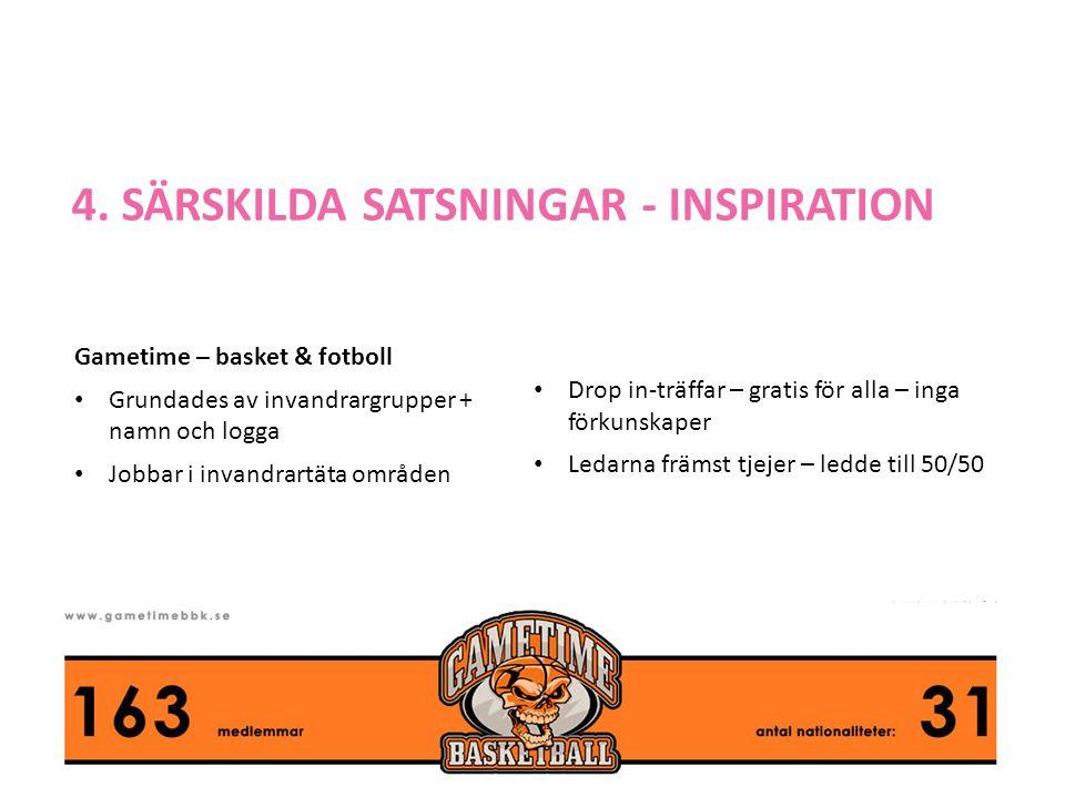 4. SÄRSKILDA SATSNINGAR - INSPIRATION Gametime – basket & fotboll • Grundades av invandrargrupper + namn och logga • Jobbar i invandrartäta områden •
