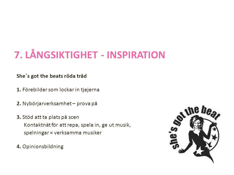 7. LÅNGSIKTIGHET - INSPIRATION She´s got the beats röda tråd 1.