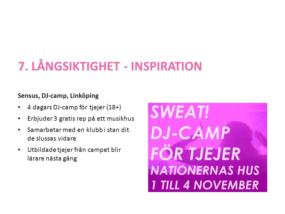 7. LÅNGSIKTIGHET - INSPIRATION Sensus, DJ-camp, Linköping • 4 dagars DJ-camp för tjejer (18+) • Erbjuder 3 gratis rep på ett musikhus • Samarbetar med