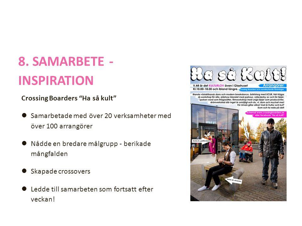 """8. SAMARBETE - INSPIRATION Crossing Boarders """"Ha så kult""""  Samarbetade med över 20 verksamheter med över 100 arrangörer  Nådde en bredare målgrupp -"""