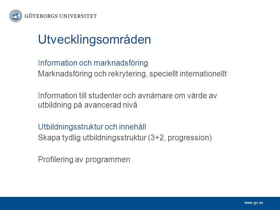 www.gu.se Utvecklingsområden Information och marknadsföring Marknadsföring och rekrytering, speciellt internationellt Information till studenter och a