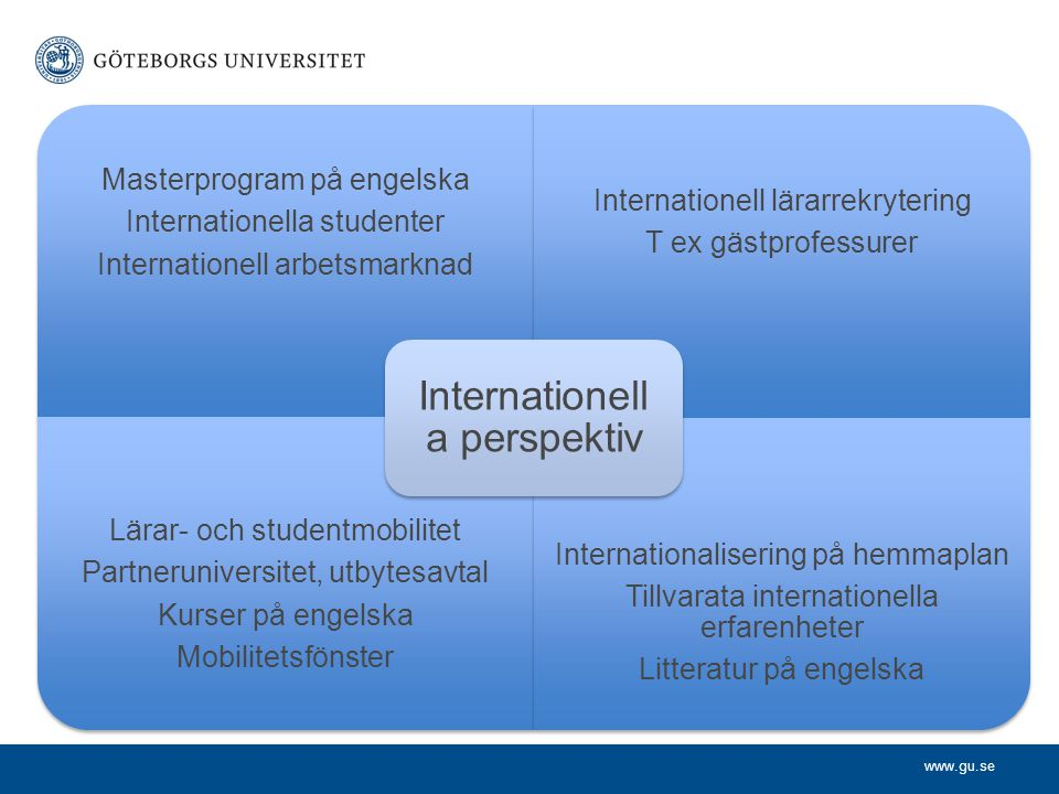 www.gu.se Masterprogram på engelska Internationella studenter Internationell arbetsmarknad Internationell lärarrekrytering T ex gästprofessurer Lärar-