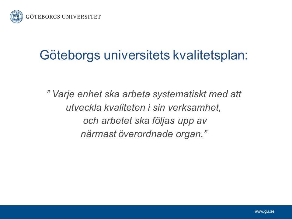 """www.gu.se Göteborgs universitets kvalitetsplan: """" Varje enhet ska arbeta systematiskt med att utveckla kvaliteten i sin verksamhet, och arbetet ska fö"""