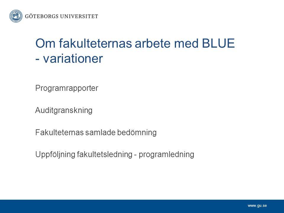 Om fakulteternas arbete med BLUE - variationer Programrapporter Auditgranskning Fakulteternas samlade bedömning Uppföljning fakultetsledning - program