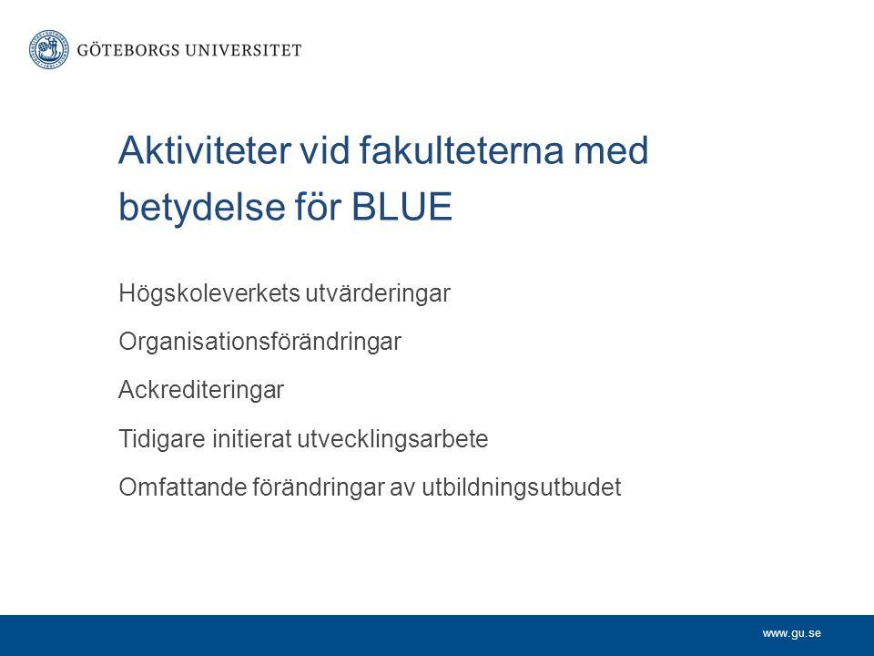 www.gu.se Aktiviteter vid fakulteterna med betydelse för BLUE Högskoleverkets utvärderingar Organisationsförändringar Ackrediteringar Tidigare initier