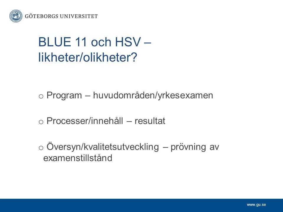 www.gu.se BLUE 11 och HSV – likheter/olikheter? o Program – huvudområden/yrkesexamen o Processer/innehåll – resultat o Översyn/kvalitetsutveckling – p