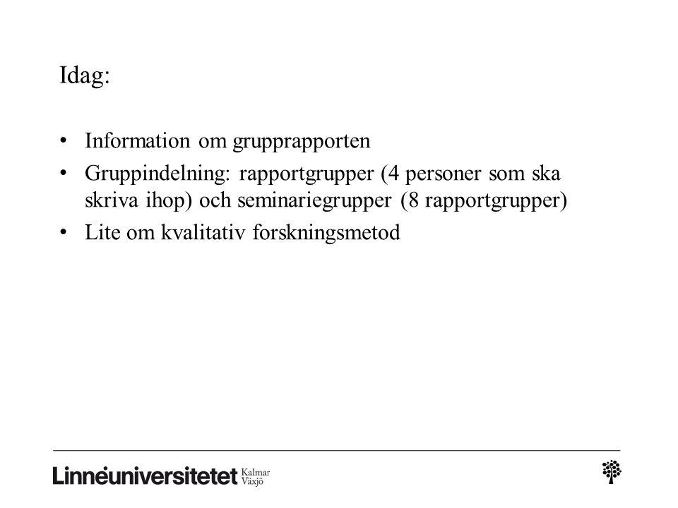 Kursmoment under 1FE850: Teoretiska perspektiv: Organisation och ledarskap: grundläggande begrepp och teorier, tentamen 4.5 hp, U-G- VG Marknadsföring: grundläggande begrepp och teorier, tentamen 4.5 hp, U-G-VG Fältarbete: grundläggande kunskaper i vetenskaplig metod Tillämpning: Rapport 1, organisation, 1.5 hp, U- G Fältstudie: en undersökning av ett företag Rapport 2, marknadsföring, 1.5 hp, U-G Presentationsteknik Integration och tillämpning av marknadsföring och organisation: slutrapport, 3 hp, U-G-VG