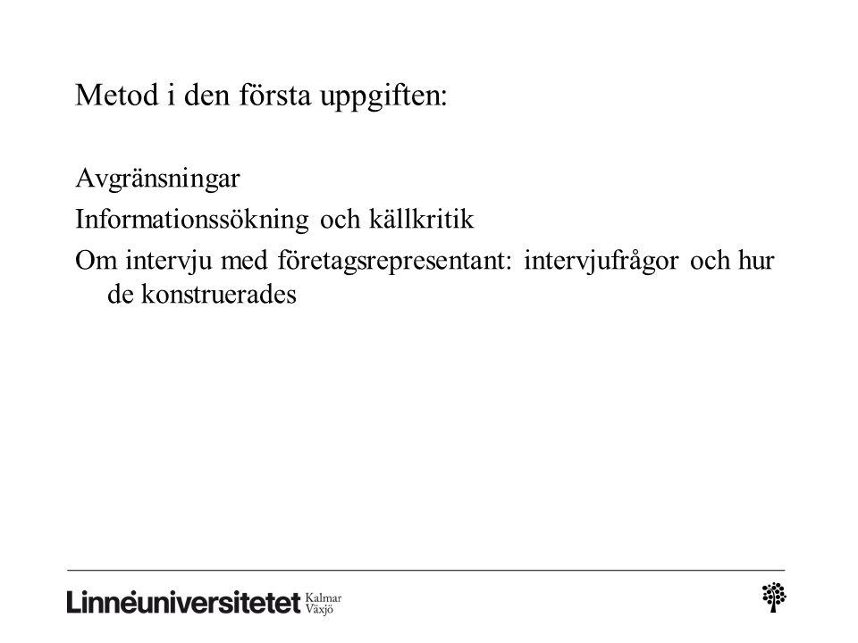 Metod i den första uppgiften: Avgränsningar Informationssökning och källkritik Om intervju med företagsrepresentant: intervjufrågor och hur de konstru
