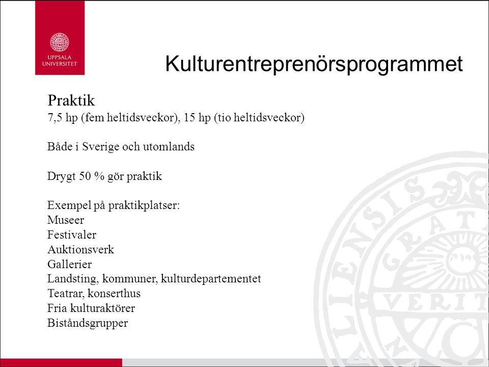 Kulturentreprenörsprogrammet Praktik 7,5 hp (fem heltidsveckor), 15 hp (tio heltidsveckor) Både i Sverige och utomlands Drygt 50 % gör praktik Exempel