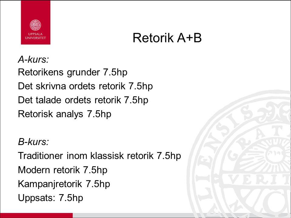 Retorik A+B A-kurs: Retorikens grunder 7.5hp Det skrivna ordets retorik 7.5hp Det talade ordets retorik 7.5hp Retorisk analys 7.5hp B-kurs: Traditione